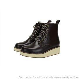 AIYA品牌經典款真皮女靴低筒女士坡跟靴