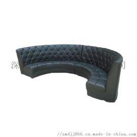 特色餐廳圓形沙發,時尚皮質半圓沙發弧形卡座定做工廠