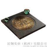 荷韵茶台新中式家具乌金石纯铜实木茶盘几实木镶嵌铜条