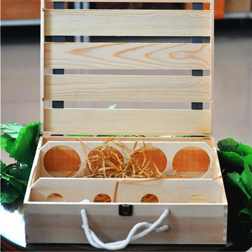 熱賣紅 木盒平排定製包裝盒四支紅 木盒子   箱木盒禮盒批發 修改