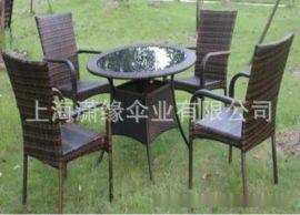 編藤桌椅組合 玻璃桌面 會所咖啡廳花園休閒桌椅套裝 一桌四椅