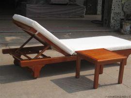 户外休闲沙滩椅、实木沙滩椅、度假区木制躺椅