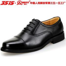 3515强人正品真皮男鞋部队三接头军官皮鞋男士正装商务皮鞋低帮鞋