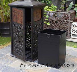 高端大气铸铝垃圾桶 配镀锌白铁皮内胆