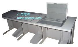 供应广州翻转电脑桌 钢木二人位机房翻转电脑桌三位(003A)
