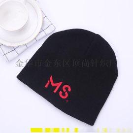 廠家直供針織立體繡花直邊晴綸針織帽 秋冬季保暖純色套頭毛線帽