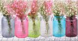 歐式地中海玻璃花瓶彩色透明簡約田園風創意水培花瓶擺件客廳插花