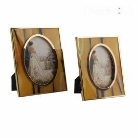歐式橢圓形不鏽鋼金屬金色銀色黃色牛骨相框擺臺創意樣板間擺件