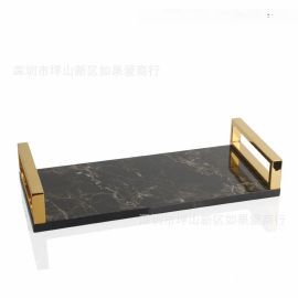 简约样板房间长方形黑色大理石纹路木制质不锈钢托盘摆件软装饰品