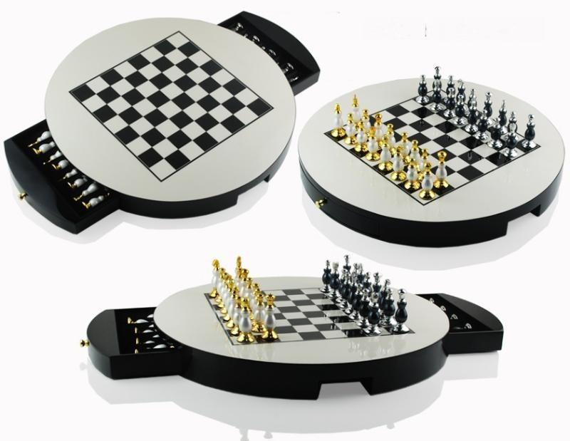 黑白黃色駝色圓形國際象棋高端裝飾裝飾實木棋盤歐式樣板間擺件