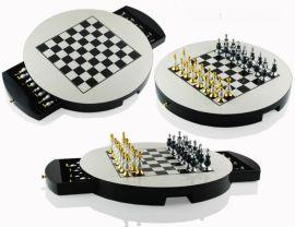 黑白黄色驼色圆形国际象棋高端装饰装饰实木棋盘欧式样板间摆件