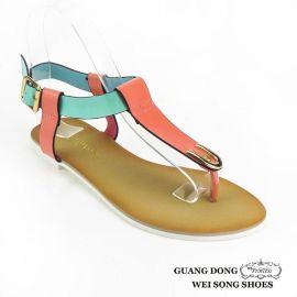 2016欧洲站新款女鞋拼色凉鞋女欧美夏季潮流夹脚凉鞋女式平底凉鞋