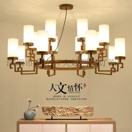 新中式吊燈客廳燈大氣黑色鐵藝臥室書房燈飾餐廳燈具