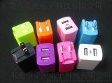 过ul认证2个USB充电器 折叠插脚USB旅行充电器