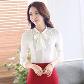 廠家批發春夏女士襯衣正裝修身長袖大碼ol時尚白色商務職業襯衫