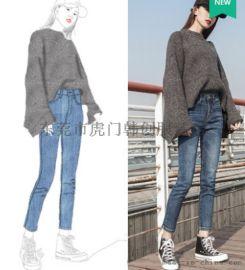 便宜牛仔裤秋冬女士弹力小脚裤杂款尾货牛仔裤清