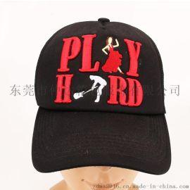 厂家定制夏季遮阳帽 男女户外防晒海绵网眼帽 外贸刺绣广告网帽