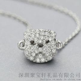 珠宝礼品 S925纯银项链女 韩版时尚镶嵌沙皮狗套链 银饰品