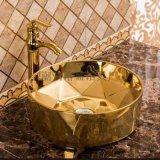 臺上電鍍陶瓷歐式土豪金新款洗手盆