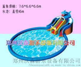 充气水上乐园定做,牡丹江广场鲨鱼水滑梯吸客无数