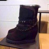 歐美內增高澳洲羊皮毛一體雪地靴平跟鉚釘鏈子搭扣平跟短靴棉靴潮