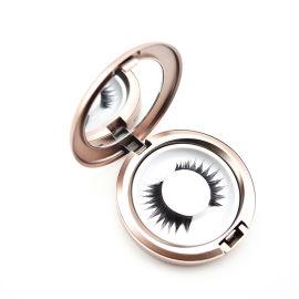 玫瑰金色圆形带镜子假睫毛盒