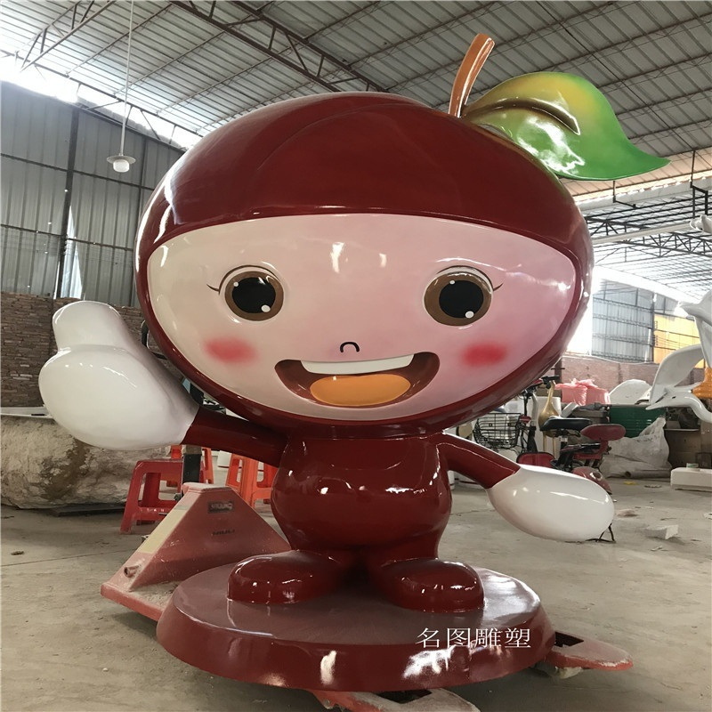 定制福建芙蓉李雕塑造型玻璃钢卡通水果雕塑图片展示