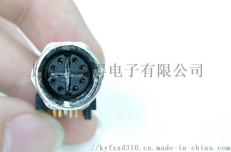 PCB板M12弯角插座防水 8芯X键位接插件