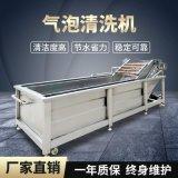 蓮藕片姜芽豆苗氣泡式連續清洗機 大型不鏽鋼網帶農副產品清洗機
