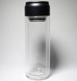 新款希诺双层隔热加厚玻璃茶水杯子 新潮易拉罐提环设计 晶莹剔透