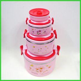 不锈钢四件套  保温饭盒外贸出口提锅  双层塑料保鲜锅