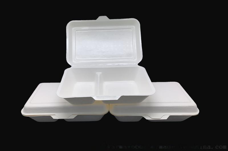 1000ml 2格餐盒纸浆模塑产品可降解快餐盒