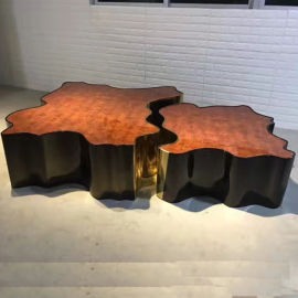 现代简约异形不锈钢电镀茶几树轮茶桌