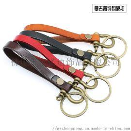 宝诺迪加LOGO定制复古简约真皮钥匙扣挂件