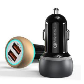 爆款 雙USB車載充電器 QC3.0雙口同時快充