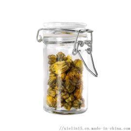 玻璃调料罐子不锈钢卡扣玻璃瓶