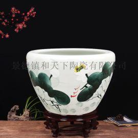 景德镇陶瓷金鱼缸乌龟缸花盆大号瓷盆水仙水培瓷缸