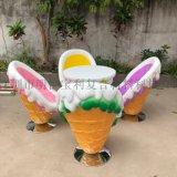 惠州玻璃鋼廠家供應創意冰激凌桌椅雕塑室內擺放