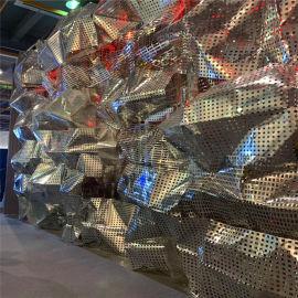 烤漆穿孔铝板背景墙 三角形冲孔铝板外墙