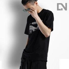 inshining2020夏季情侣装防缩水纯棉短袖圆领宽松休闲黑色反光T恤