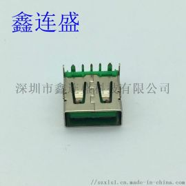USB母座5P大电流90度绿色