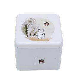 业士白色简约正方形小号密封蛋糕包装铁盒