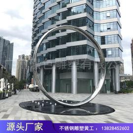 大型不锈钢圆环雕塑 房地产工程雕塑 陈美不锈钢雕塑