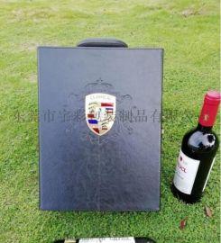 黑色皮革红酒盒 酒盒生产厂家 **红酒盒