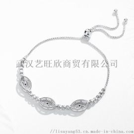 S925純銀歐美時尚流行眼睛手鏈