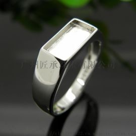 925银戒指托定做戒面镶嵌翡翠玉石宝石戒面首饰加工定做 珠宝个性设计3D喷蜡学生毕业设计生产加工