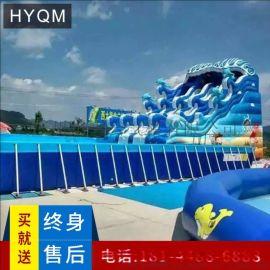 型可移動支架水池游泳池戶外滑梯移動水上樂園充氣衝關闖關設備