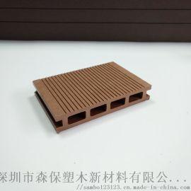 140*25mm户外长条塑木地板方孔一面平园林栈道阳台防腐木生态环保