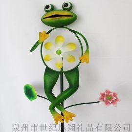 厂家直销花园插件花园装饰立体青蛙风车插件