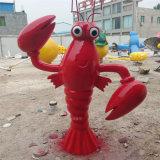 玻璃鋼小龍蝦雕塑模型 火鍋店門口迎賓大蝦雕塑擺件